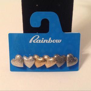 🐴 3 Pair Rainbow Heart Stud Earrings